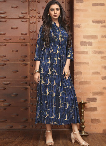 Blue Color Rayon Satin Stitched Kurti - Femina-1214