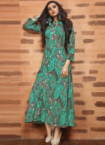 Green Color Rayon Satin Stitched Kurti - Femina-1216
