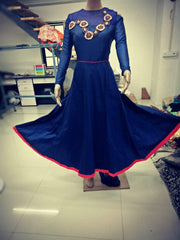 Buy Navy Blue Color Rayon Tusser Silk Stitched Gown