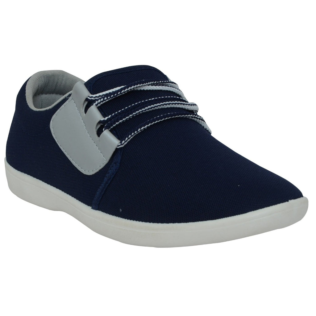 Buy Blue And Grey Color Synthetic Mens Shoes