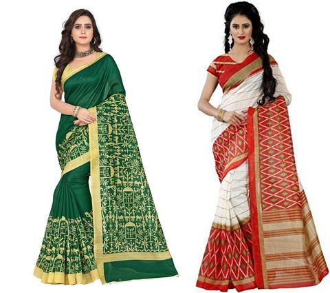 Bhagalpuri Combo Sarees - Figure-Orange