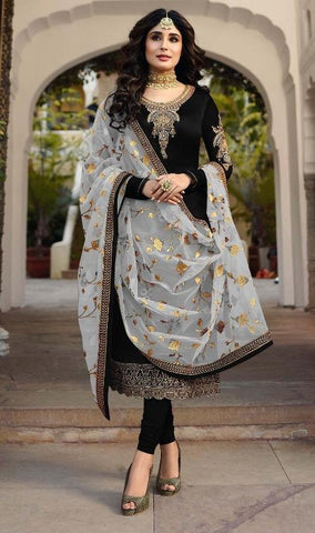 Black Color Satin Georgette Women's Semi Stitched Salwar Suit - Fiona-22425-1
