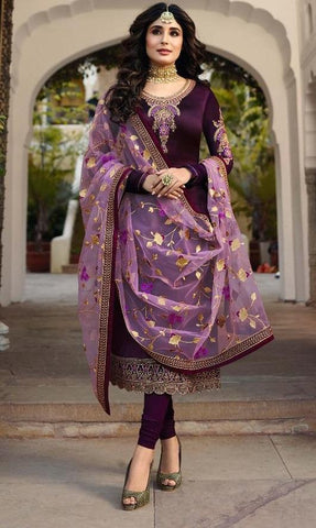 Magenta Color Satin Georgette Women's Semi Stitched Salwar Suit - Fiona-22425-2