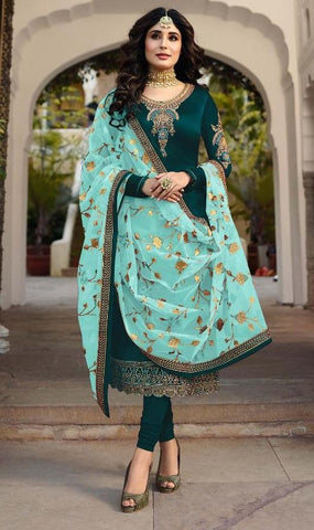 Green Color Satin Georgette Women's Semi Stitched Salwar Suit - Fiona-22425-3