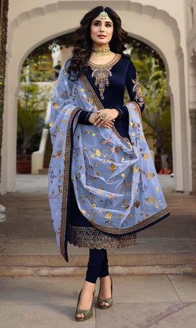 Navy Color Satin Georgette Women's Semi Stitched Salwar Suit - Fiona-22425-4