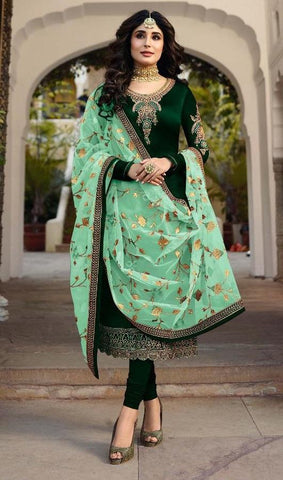 Green Color Satin Georgette Women's Semi Stitched Salwar Suit - Fiona-22425-5