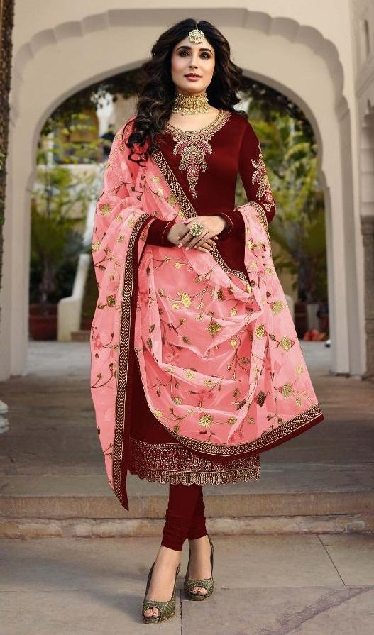 Buy Maroon Color Satin Georgette Women's Semi Stitched Salwar Suit