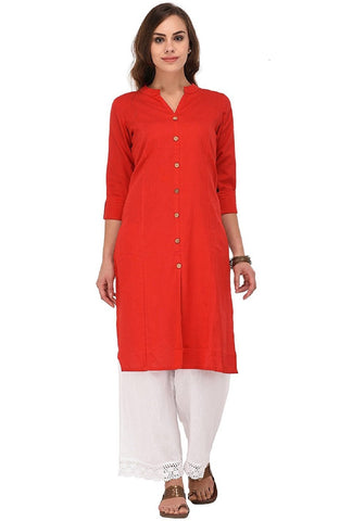 Red Color Cotton Stitched Kurti - Flavia-108F-ButtonRed