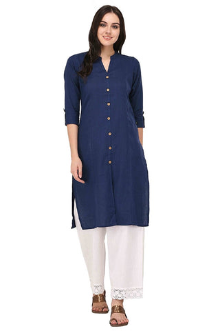 Blue Color Cotton Stitched Kurti - Flavia-110F-ButtonRoyalBlue