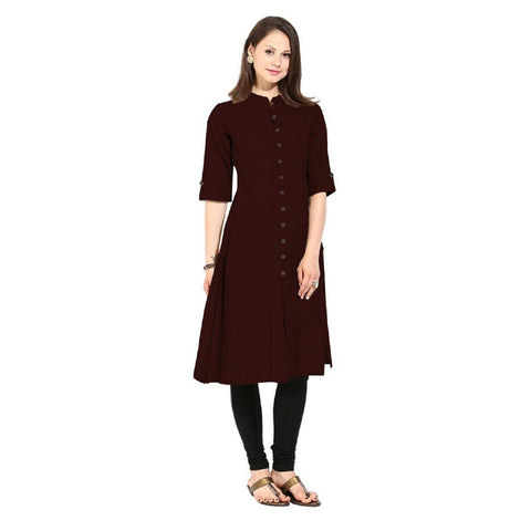 Brown Color Cotton Stitched Kurti - Flavia-112F-ButtonBrown