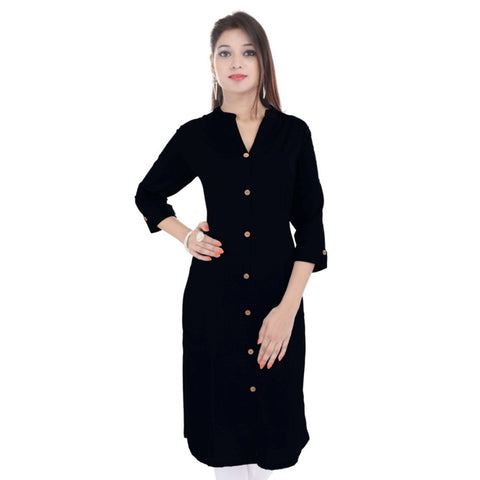 Black Color Cotton Stitched Kurti - Flavia-114F-ButtonBlack