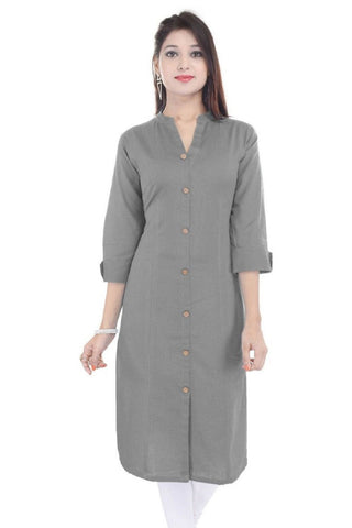 Grey Color Cotton Stitched Kurti - Flavia-115F-ButtonGrey