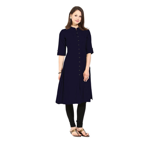 Navy Blue Color Cotton Stitched Kurti - Flavia-116F-ButtonNavyBlue