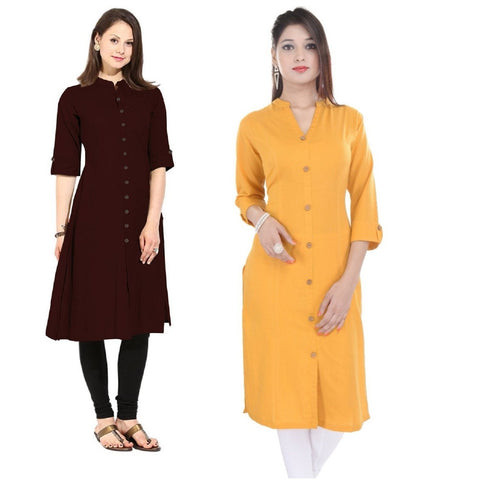 COMBOS-Cotton Stitched Kurtis - Flavia-117-KurtiCombo-F.Button