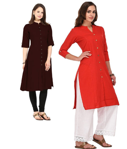 COMBOS-Cotton Stitched Kurtis - Flavia-118-KurtiCombo-F.Button