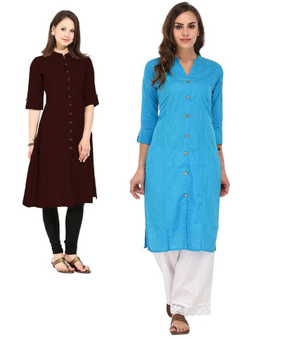 COMBOS-Cotton Stitched Kurtis - Flavia-119-KurtiCombo-F.Button