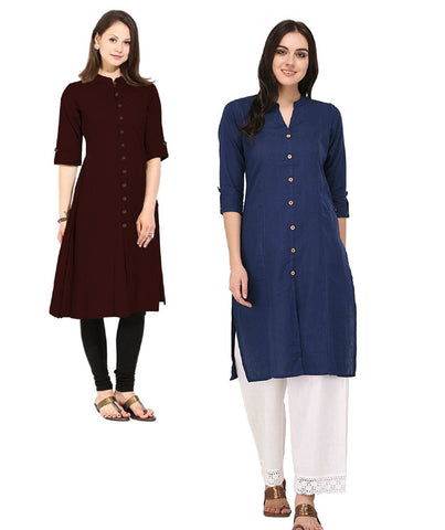 COMBOS-Cotton Stitched Kurtis - Flavia-120-KurtiCombo-F.Button