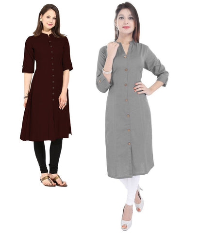 COMBOS-Cotton Stitched Kurtis - Flavia-121-KurtiCombo-F.Button
