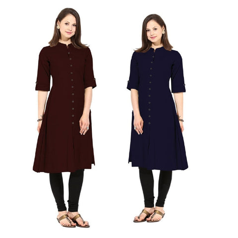 COMBOS-Cotton Stitched Kurtis - Flavia-122-KurtiCombo-F.Button