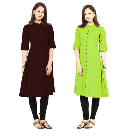 COMBOS-Cotton Stitched Kurtis - Flavia-123-KurtiCombo-F.Button