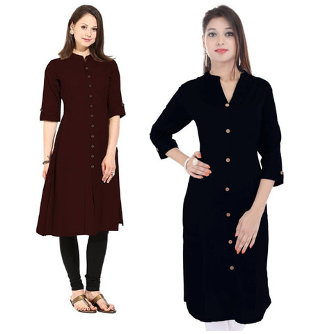 COMBOS-Cotton Stitched Kurtis - Flavia-124-KurtiCombo-F.Button