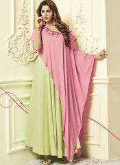 Buy Lemon Yellow And Pink Color Rayon 14Kg Stitched Gown