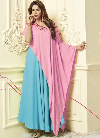 Sky Blue And Pink Color Rayon 14Kg Stitched Gown - Floral2-3013-C