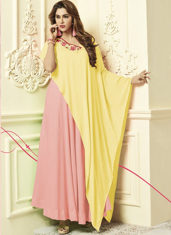 Peach And Yellow Color Rayon 14Kg Stitched Gown - Floral2-3013-D