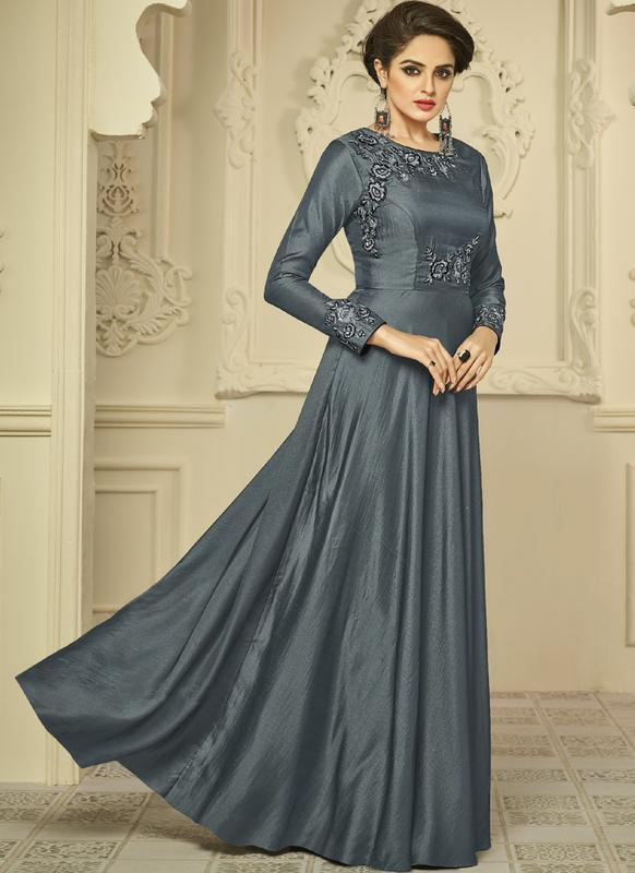 Buy Grey Color Two Tone Satin Silk Ready Made Gown