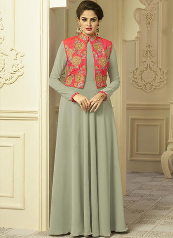 Dusty Green Color Georgette and Silk Stitched  Gown - Floret2-2014