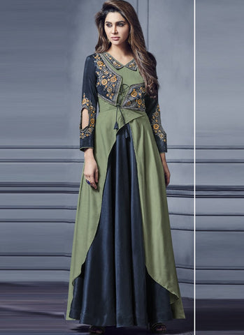 Navy Blue And Green Color Two Tone Silk Stitched Gown - Floret3-2019-A