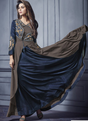 Navy Blue And Mud Color Two Tone Silk Stitched Gown - Floret3-2019-B