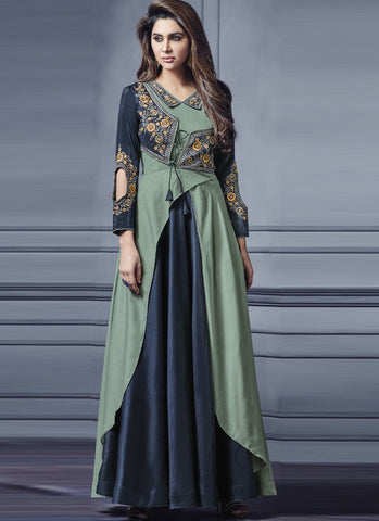 Navy Blue And Green Color Two Tone Silk Stitched Gown - Floret3-2019-C
