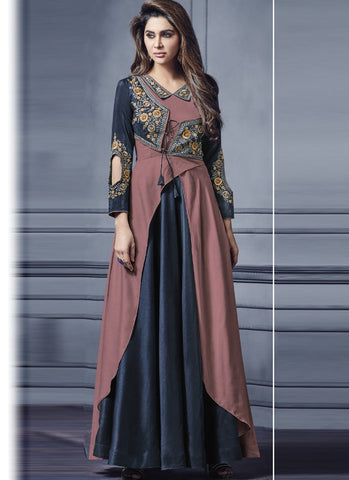 Navy Blue And Brown Color Two Tone Silk Stitched Gown - Floret3-2019-D