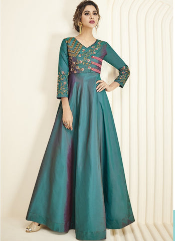 Teal Color Soft Silk Inner Heavy Royal Crepe Kurti - Floret5-2029