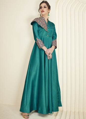 Green Color Soft Silk Inner Heavy Royal Crepe Kurti - Floret5-2031