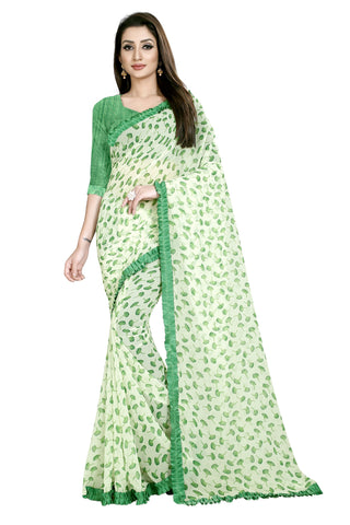 Green Color Faux Georgette Women's Saree - Flower-Ruffle-Green