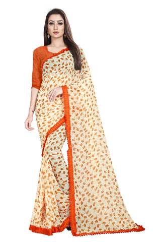 Orange Color Faux Georgette Women's Saree - Flower-Ruffle-Orange