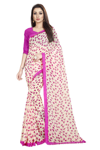 Pink Color Faux Georgette Women's Saree - Flower-Ruffle-Pink