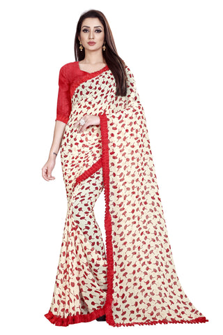 Red Color Faux Georgette Women's Saree - Flower-Ruffle-Red