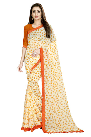Yellow Color Faux Georgette Women's Saree - Flower-Ruffle-yellow