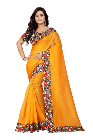 Yellow Color Bhagalpuri Saree - Flower-Yellow