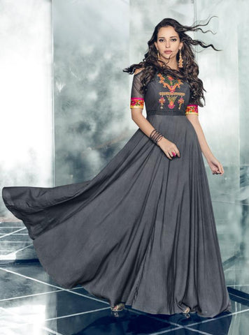 Grey Color Tapeta Satin Silk Stitched Kurti - Forever-11006