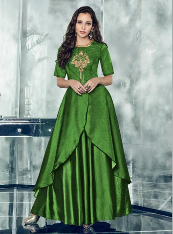 Green Color Tapeta Satin Silk Stitched Kurti - Forever-11007