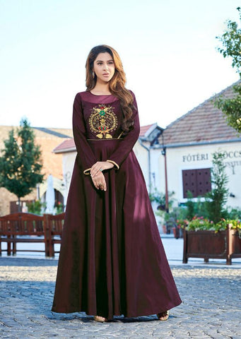 Wine Color Soft Silk Tapeta Satin Stitched Kurti - Forever2-11009