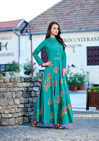 Sky  Color Two Tone Bamboo Silk Stitched Kurti - Forever2-11010