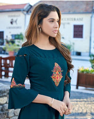 Buy Teal Color Daimond Georgette Stitched Kurti