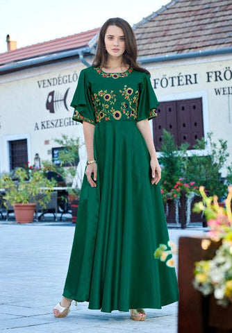 Green Color Soft Silk Tapeta Satin Stitched Kurti - Forever2-11013