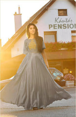 Grey Color Soft Silk Tapeta Satin Stitched Kurti - Forever2-11016