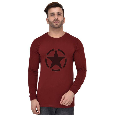 Maroon Color Cotton Mens Tshirt - Fullmaroon-639